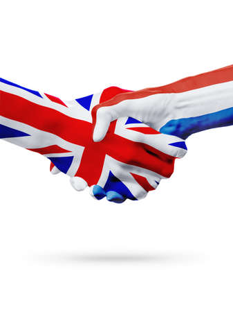 great deal: Flags United Kingdom, Netherlands countries, handshake cooperation, partnership, friendship or sports team competition concept, isolated on white