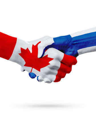 Flags Canada, Finland countries, handshake cooperation, partnership, friendship or sports team competition concept, isolated on white