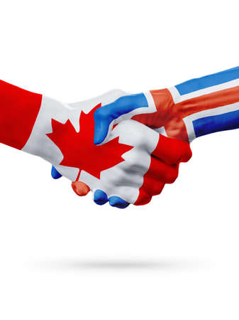Flags Canada, Iceland countries, handshake cooperation, partnership, friendship or sports team competition concept, isolated on white