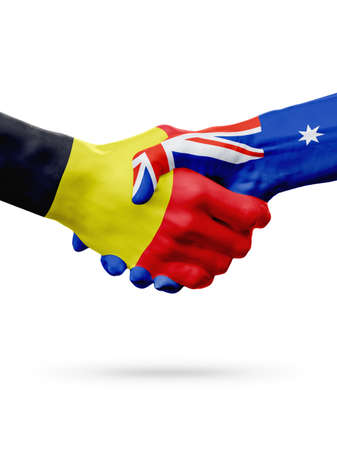 Flags Belgium, Australia countries, handshake cooperation, partnership, friendship or sports team competition concept, isolated on white