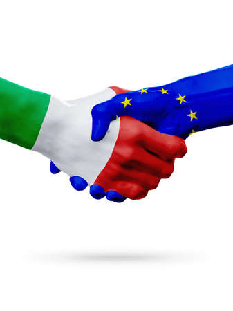 Flags Italy, European Union countries, handshake cooperation, partnership, friendship or sports team competition concept, isolated on white Stock Photo