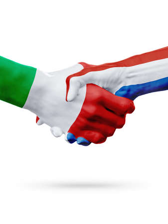 Flags Italy, Netherlands countries, handshake cooperation, partnership, friendship or sports team competition concept, isolated on white Stock Photo