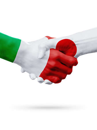 Flags Italy, Japan countries, handshake cooperation, partnership, friendship or sports team competition concept, isolated on white