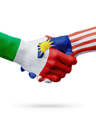 Flags Italy, Malaysia countries, handshake cooperation, partnership, friendship or sports team competition concept, isolated on white