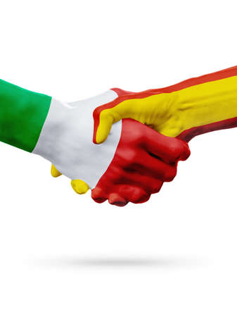 Flags Italy, Spain countries, handshake cooperation, partnership, friendship or sports team competition concept, isolated on white