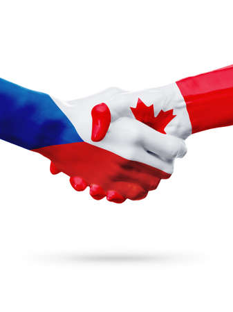 Flags Czech Republic, Canada countries, handshake cooperation, partnership, friendship or sports team competition concept, isolated white
