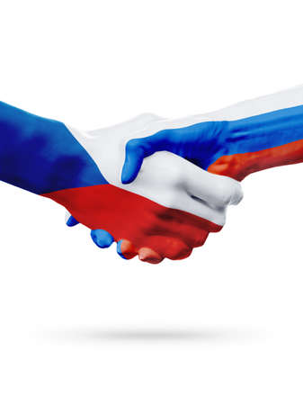 Flags Czech Republic, Russia countries, handshake cooperation, partnership, friendship or sports team competition concept, isolated white