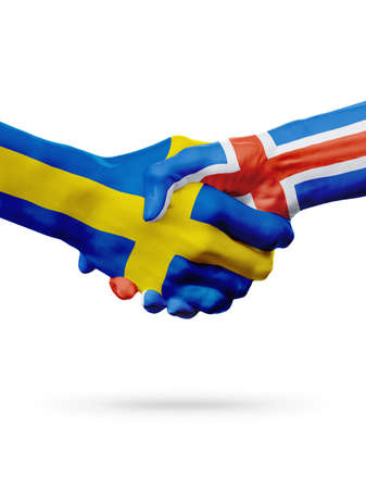 Flags Sweden, Iceland countries, handshake cooperation, partnership, friendship or sports team competition concept, isolated on white