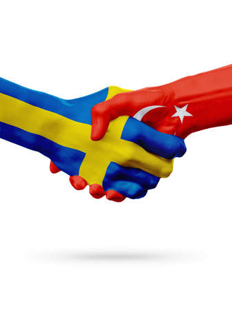 bandera de suecia: Flags Sweden, Turkey countries, handshake cooperation, partnership, friendship or sports team competition concept, isolated on white Foto de archivo