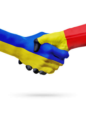 Flags Ukraine, Belgium countries, handshake cooperation, partnership, friendship or sports team competition concept, isolated on white Stock Photo