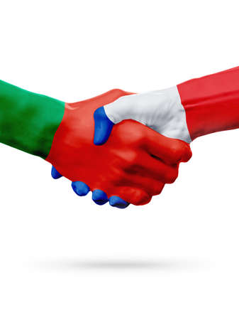 bandera de portugal: Flags Portugal, France countries, handshake cooperation, partnership, friendship or sports team competition concept, isolated on white