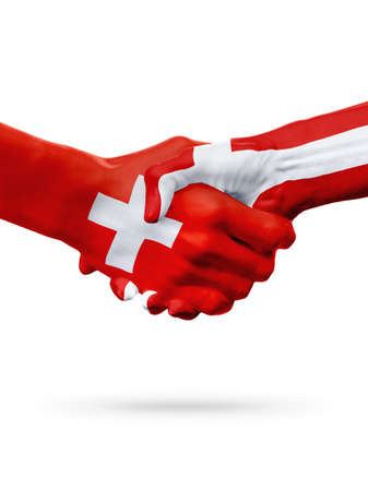 Flags Switzerland, Denmark countries, handshake cooperation, partnership, friendship or sports team competition concept, isolated on white