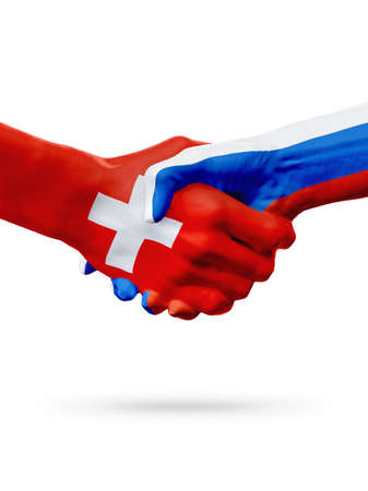 Flags Switzerland, Russia countries, handshake cooperation, partnership, friendship or sports team competition concept, isolated on white