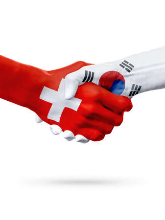 korea flag: Flags Switzerland, South Korea countries, handshake cooperation, partnership, friendship or sports team competition concept, isolated on white Stock Photo