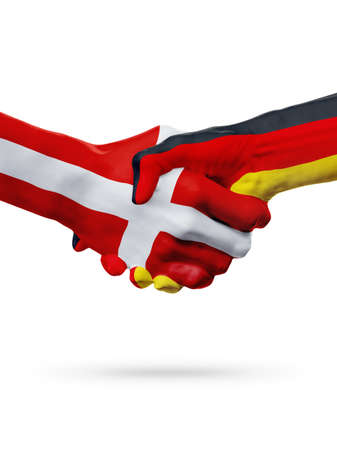 Flags Denmark, Germany countries, handshake cooperation, partnership, friendship or sports team competition concept, isolated on white Stock Photo