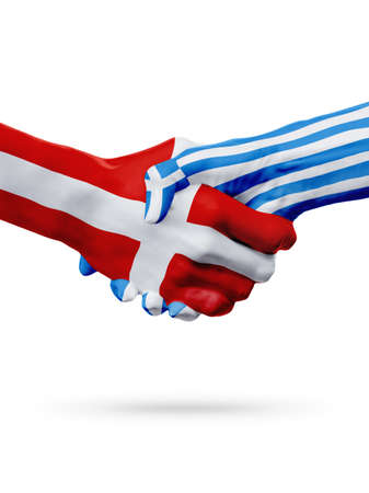 Flags Denmark, Greece countries, handshake cooperation, partnership, friendship or sports team competition concept, isolated on white Stock Photo