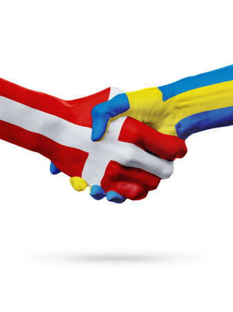 Flags Denmark, Sweden countries, handshake cooperation, partnership, friendship or sports team competition concept, isolated on white