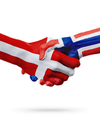 Flags Denmark, Norway countries, handshake cooperation, partnership, friendship or sports team competition concept, isolated on white
