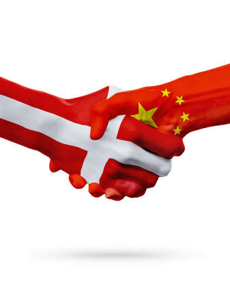 Flags Denmark, China countries, handshake cooperation, partnership, friendship or sports team competition concept, isolated on white
