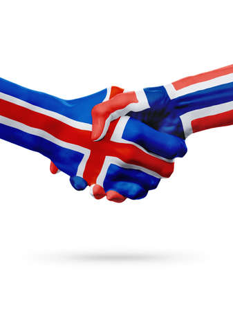 norway flag: Flags countries, handshake cooperation, partnership, friendship or sports team competition concept, isolated on white