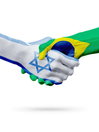 Flags Israel, Brazil countries, handshake cooperation, partnership, friendship or sports team competition concept, isolated on white
