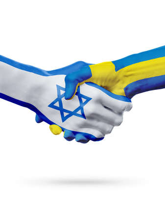 Flags Israel, Sweden countries, handshake cooperation, partnership, friendship or sports team competition concept, isolated on white