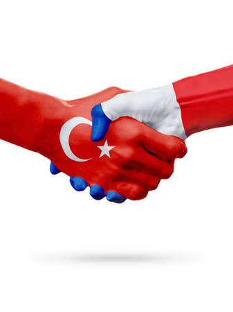 Flags Republic of Turkey, France countries, handshake cooperation, partnership, friendship or sports team competition concept, isolated on white