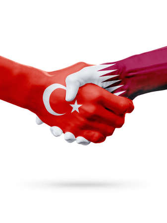 Flags Republic of Turkey, Qatar countries, handshake cooperation, partnership, friendship or sports team competition concept, isolated on white