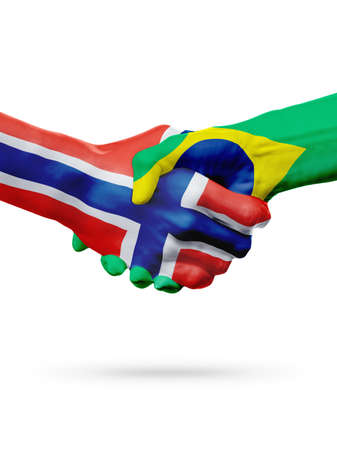 norway flag: Flags Norway, Brazil countries, handshake cooperation, partnership, friendship or sports team competition concept, isolated on white Stock Photo