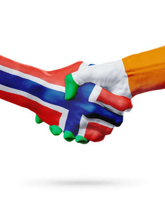norway flag: Flags Norway, Ireland countries, handshake cooperation, partnership, friendship or sports team competition concept, isolated on white Stock Photo