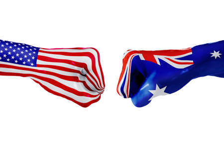USA and Australia country flag. Concept fight, war, business competition, conflict or sporting events, isolated on white