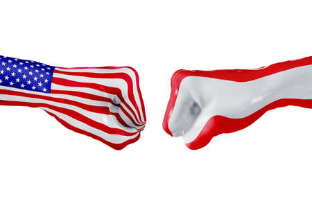 USA and Austria country flag. Concept fight, war, business competition, conflict or sporting events, isolated on white