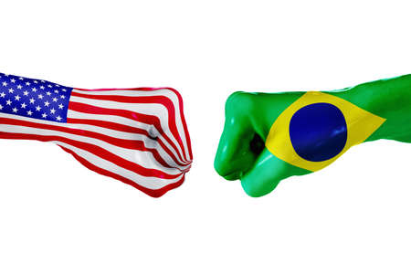 USA and Brazil country flag. Concept fight, war, business competition, conflict or sporting events, isolated on white Stock Photo