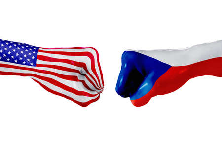 USA and Czech republic country flag. Concept fight, war, business competition, conflict or sporting events, isolated on white