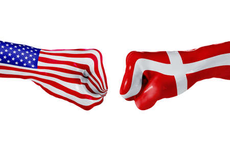 USA and Denmark country flag. Concept fight, war, business competition, conflict or sporting events, isolated on white Stock Photo