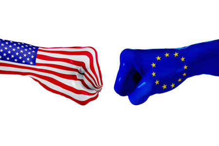 USA and European Union country flag. Concept fight, war, business competition, conflict, isolated on white