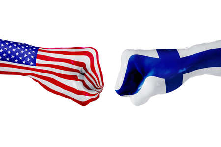 squabble: USA and Finland country flag. Concept fight, war, business competition, conflict or sporting events, isolated on white