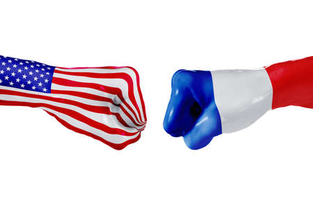 USA and France country flag. Concept fight, war, business competition, conflict or sporting events, isolated on white Stock Photo
