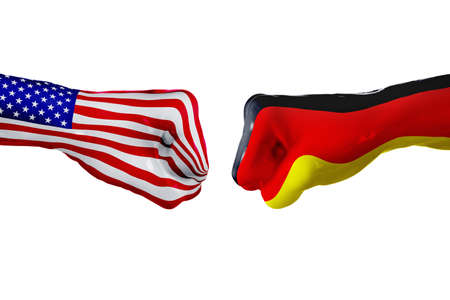 USA and Germany country flag. Concept fight, war, business competition, conflict or sporting events, isolated on white