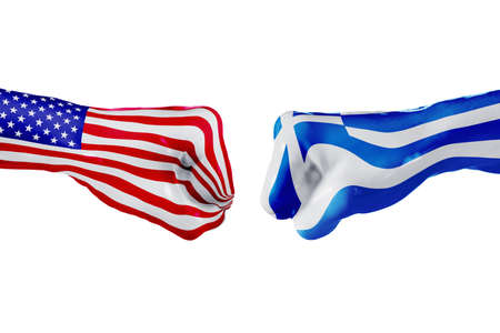 USA and Greece country flag. Concept fight, war, business competition, conflict or sporting events, isolated on white