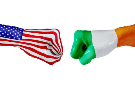 USA and Ireland country flag. Concept fight, war, business competition, conflict or sporting events, isolated on white Stock Photo