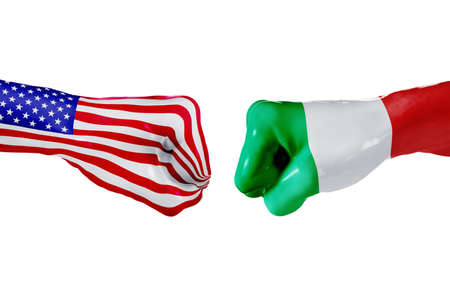 USA and Italy country flag. Concept fight, war, business competition, conflict or sporting events, isolated on white