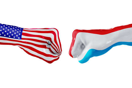 USA and Luxembourg country flag. Concept fight, war, business competition, conflict or sporting events, isolated on white