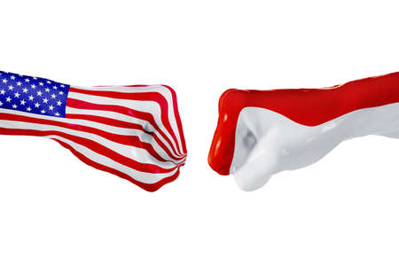 USA and Monaco country flag. Concept fight, war, business competition, conflict or sporting events, isolated on white