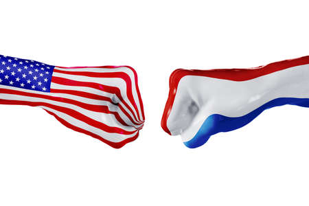 USA and Netherlands country flag. Concept fight, war, business competition, conflict or sporting events, isolated on white Stock Photo