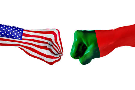 enmity: USA and Portugal country flag. Concept fight, war, business competition, conflict or sporting events, isolated on white
