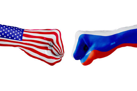 USA and Russia country flag. Concept fight, war, business competition, conflict or sporting events, isolated on white Stock Photo