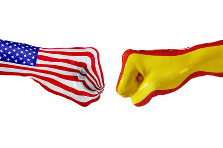 USA and Spain country flag. Concept fight, war, business competition, conflict or sporting events, isolated on white Stock Photo