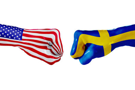 USA and Sweden country flag. Concept fight, war, business competition, conflict or sporting events, isolated on white