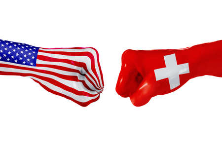 USA and Switzerland country flag. Concept fight, war, business competition, conflict or sporting events, isolated on white Stock Photo